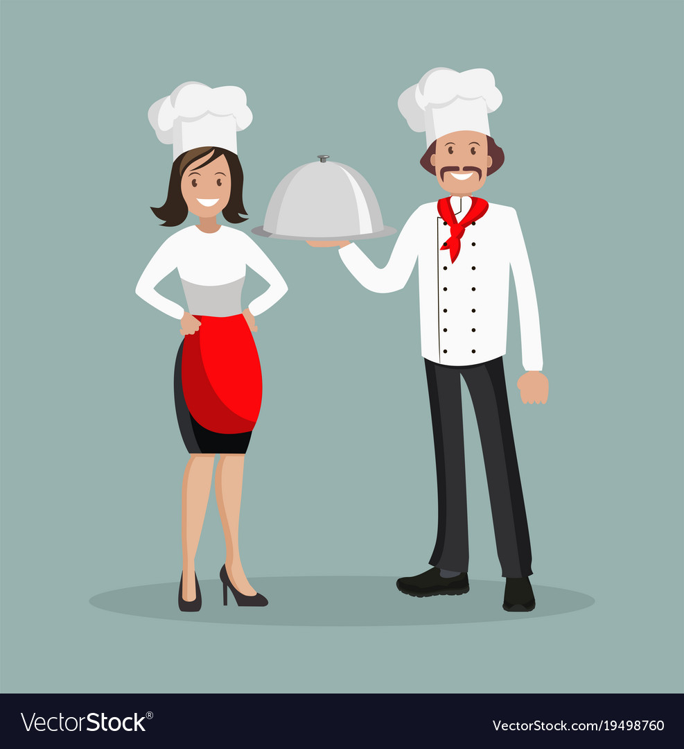 The chef is a man and a woman style flat vector image