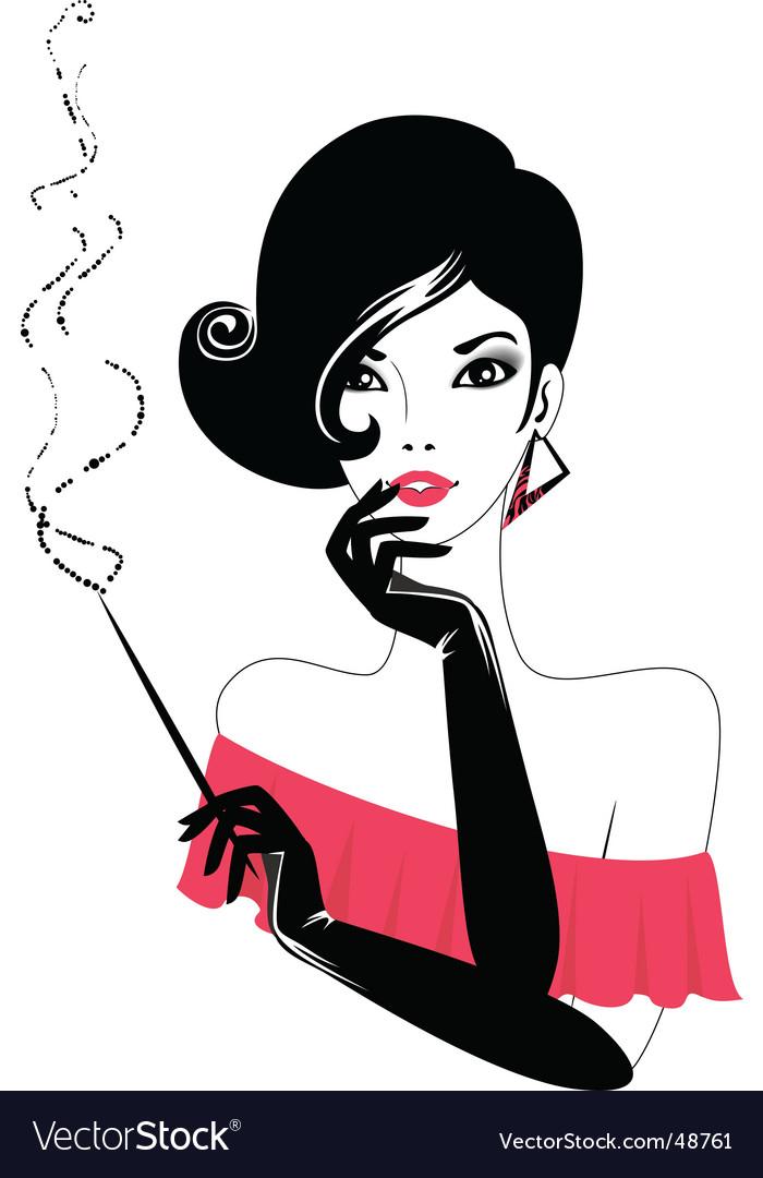 Retro lady vector image
