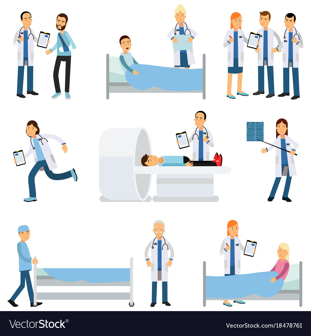 Flat characters set of medical workers and vector image