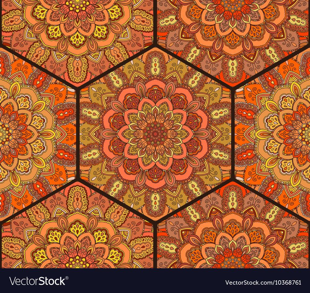Honey Comb Hex Pattern from Flower Mandala vector image