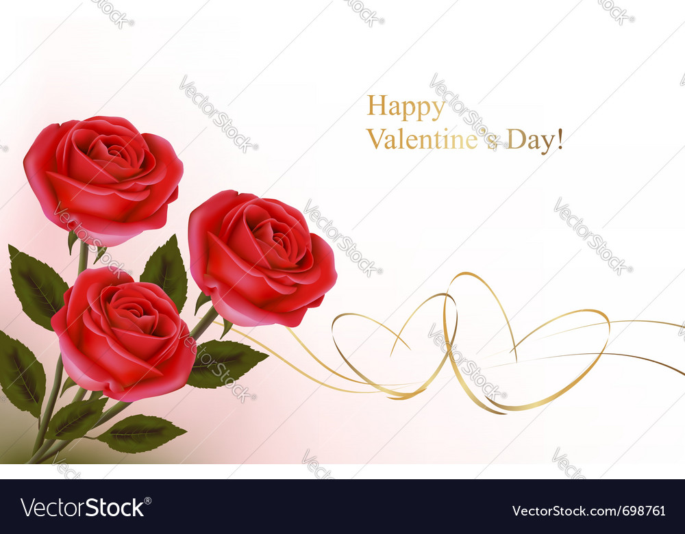 Red roses and gold hearts vector image