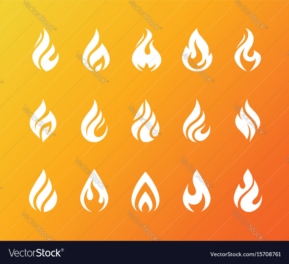 Set of white fire flame icons and logo isolated on vector image