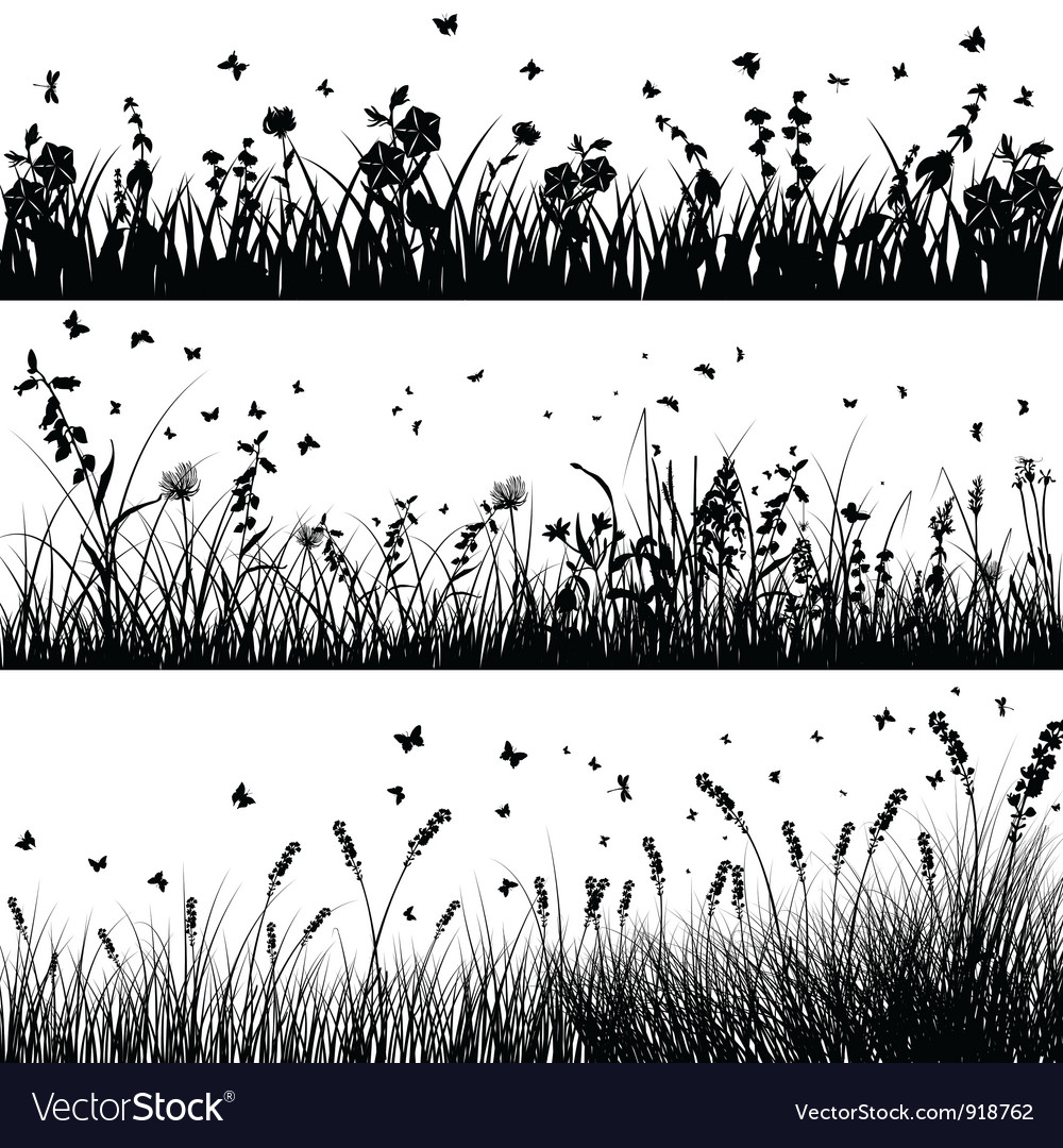 Grass line set vector image