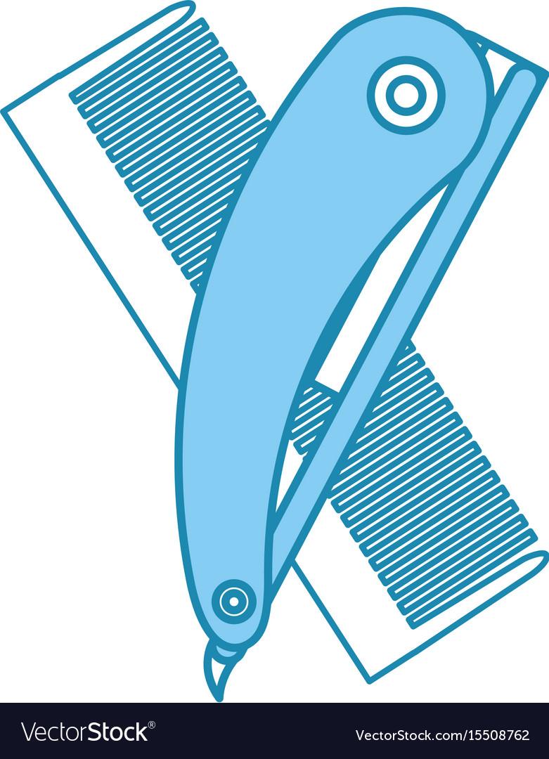 Barbershop comb with razor vector image