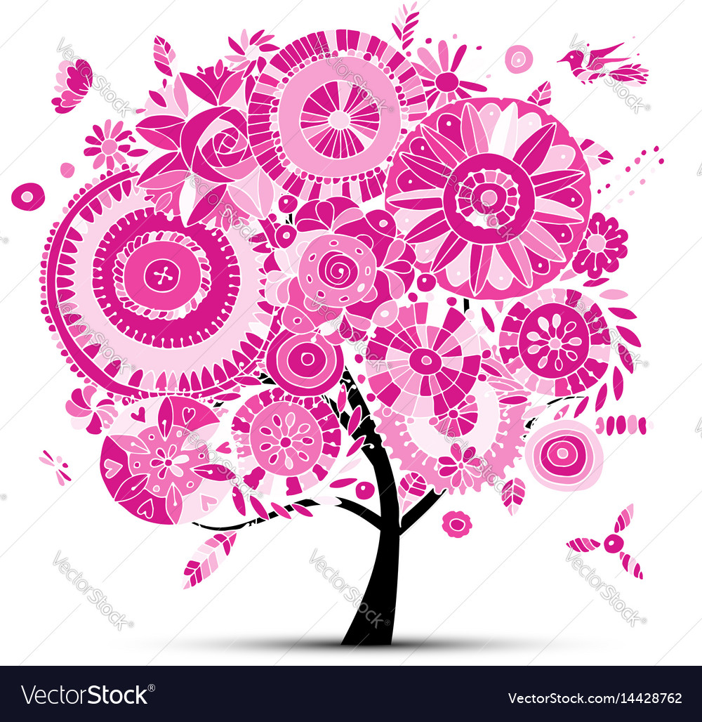 Floral tree for your design vector image