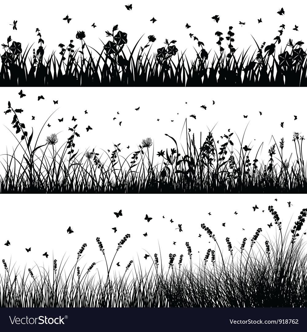 Grass line set vector image