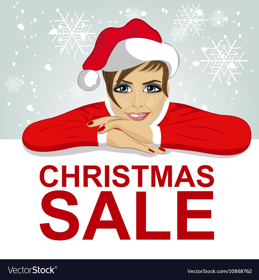Woman in santa hat leaned on blank board vector image