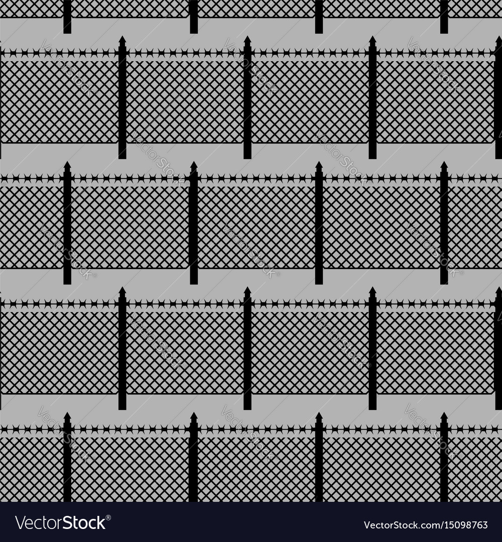 Fences seamless pattern boundary fence with vector image