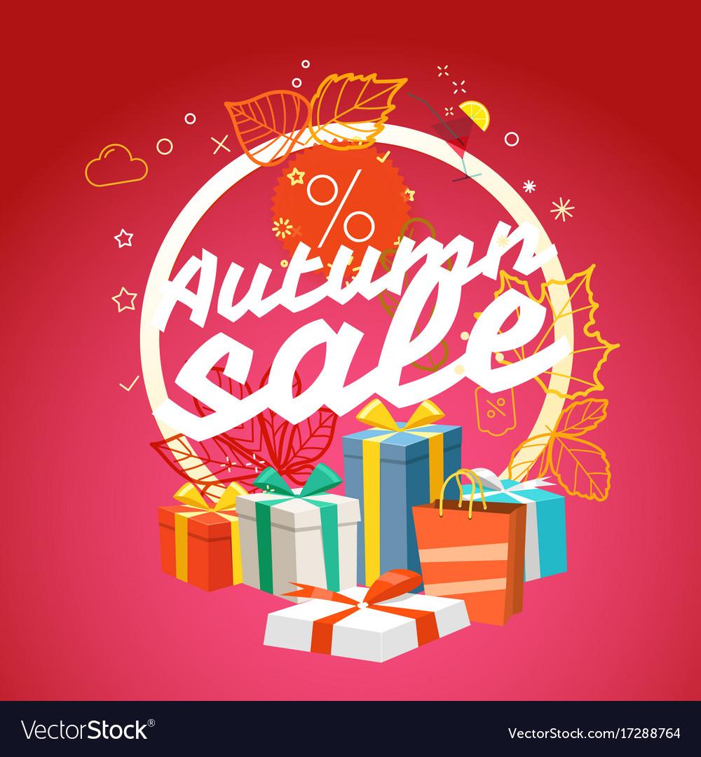 Autumn sale season sale concept vector image