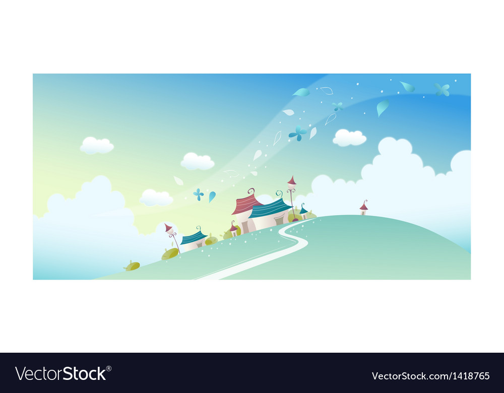 House on landscape vector image