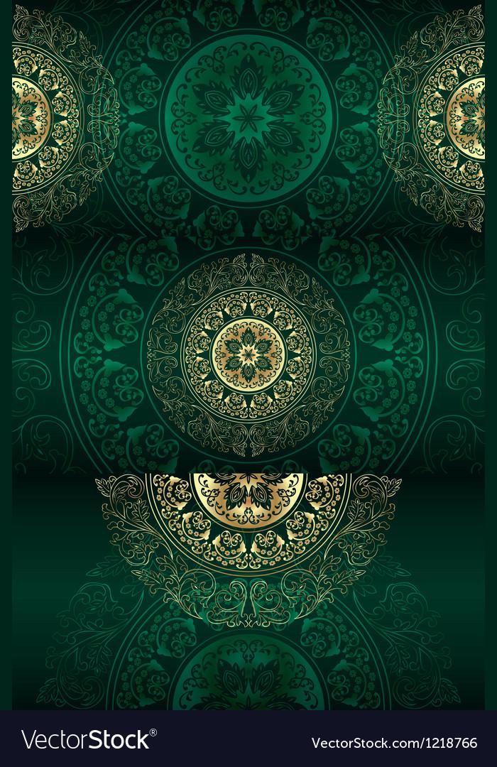 Set of green vintage floral backgrounds vector image