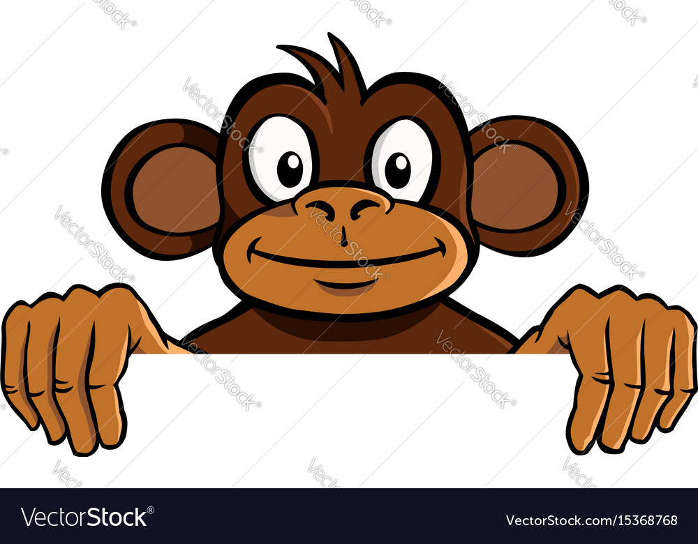Smiling monkey holding up an invisible frame vector image