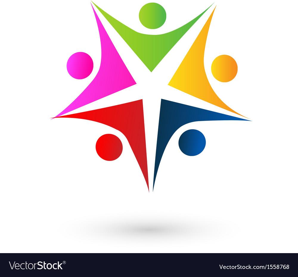 Teamwork star educational logo Royalty Free Vector Image