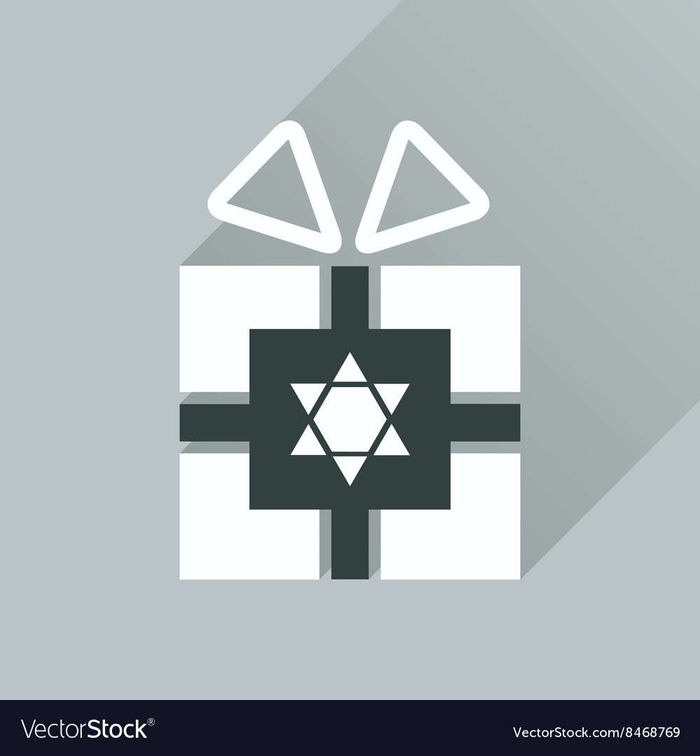 gift box icon flat with long shadow