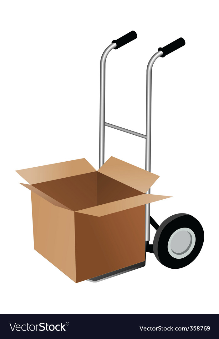Parcel with trolley vector image