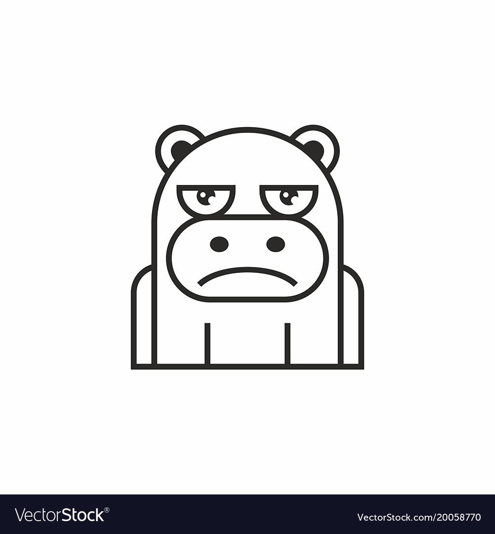 Cute hippopotamus icon on white background vector image