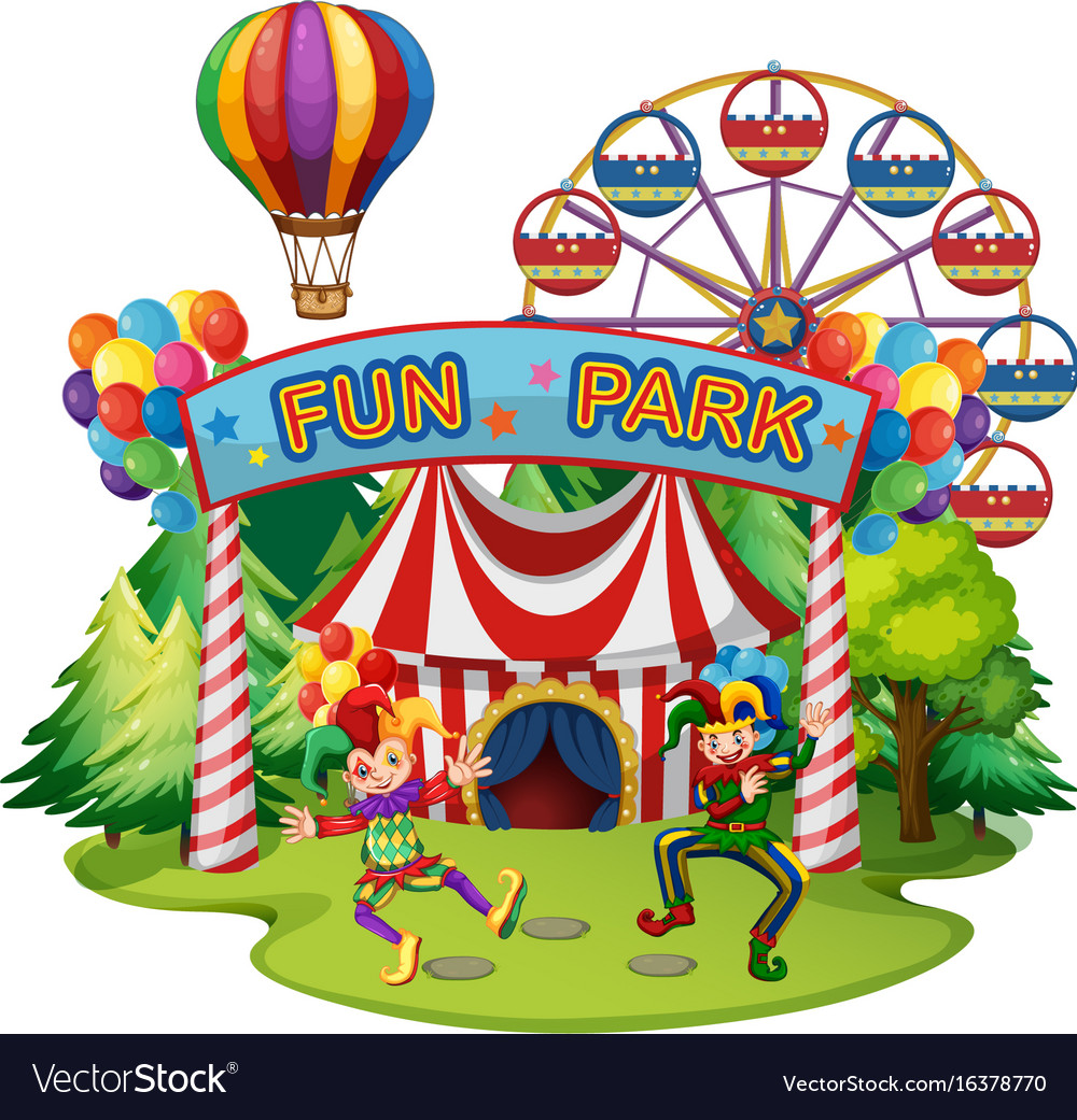 Funpark scene with clowns and rides vector image