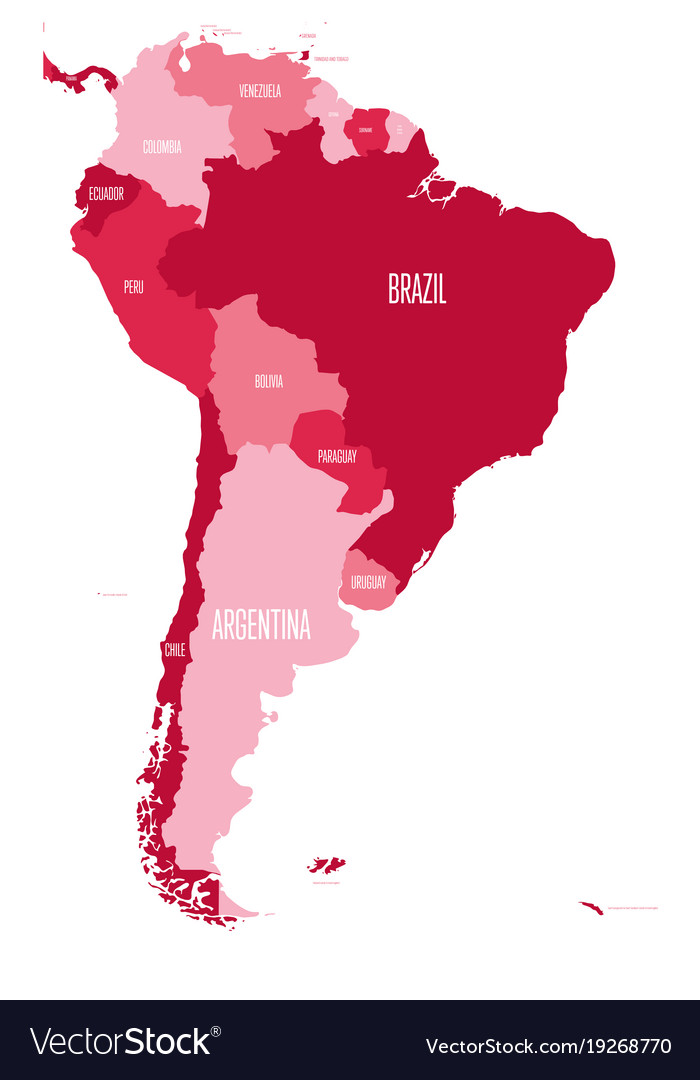 Political map of south america simple South