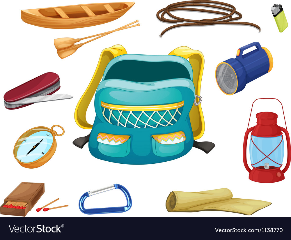 Various camping objects vector image