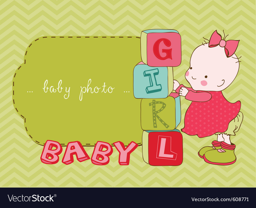 Baby girl arrival card with photo frame in vector image