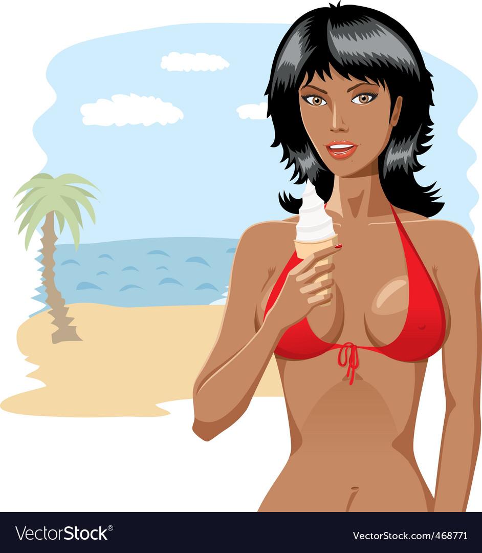 Bikini girl with ice-cream 01 vector image