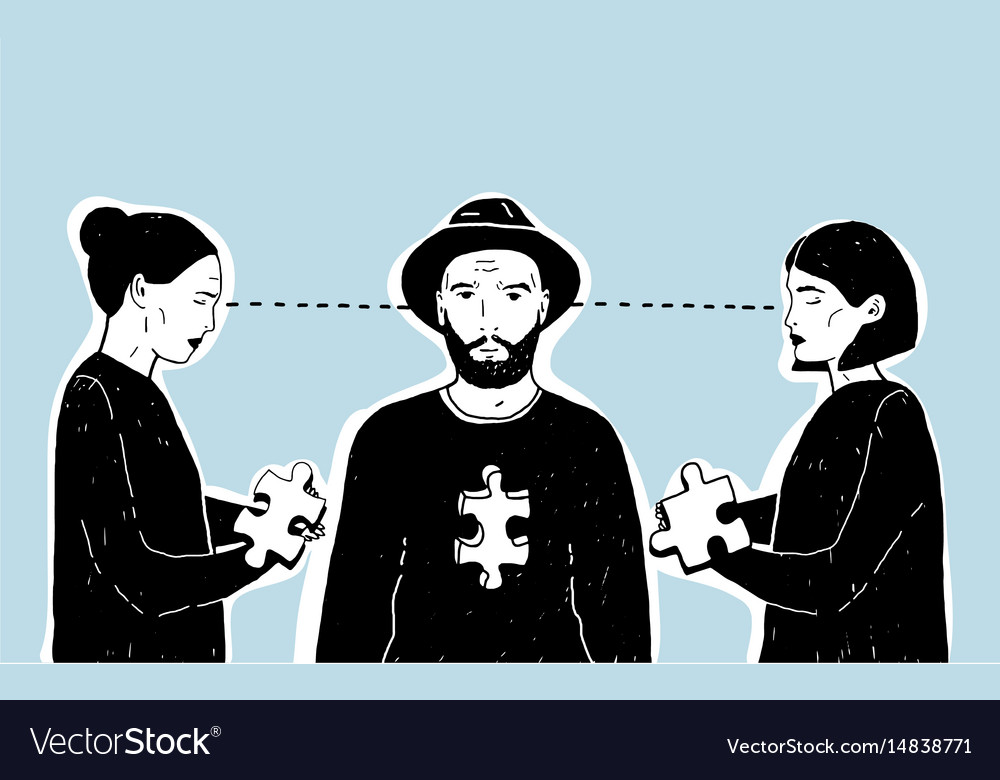 Concept of love triangle difficult choice young vector image