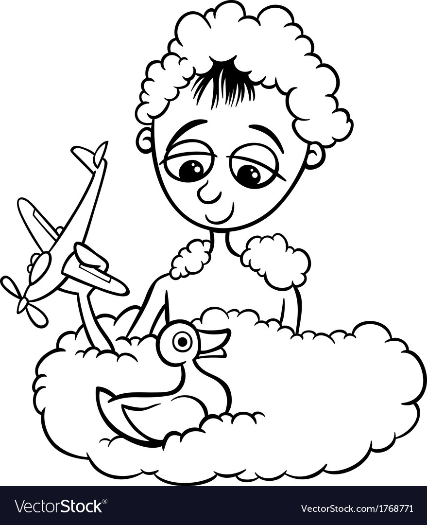 cute little boy in bath coloring page vector image - Little Boy Coloring Page