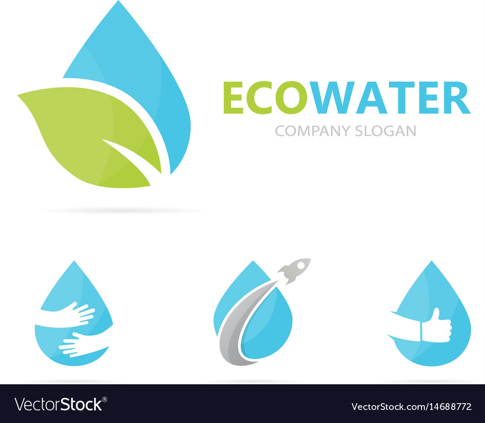 Oil and leaf logo combination drop and vector image