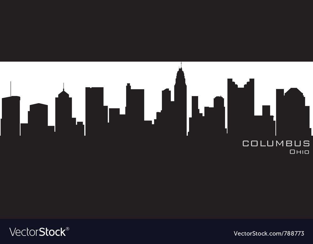 Columbus ohio skyline detailed silhouette vector image