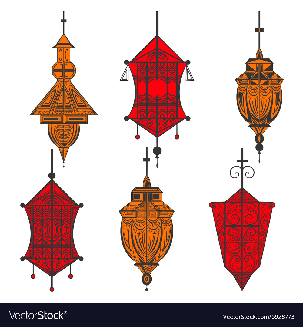 Set of ornamental ethnic lanterns in two colors vector image