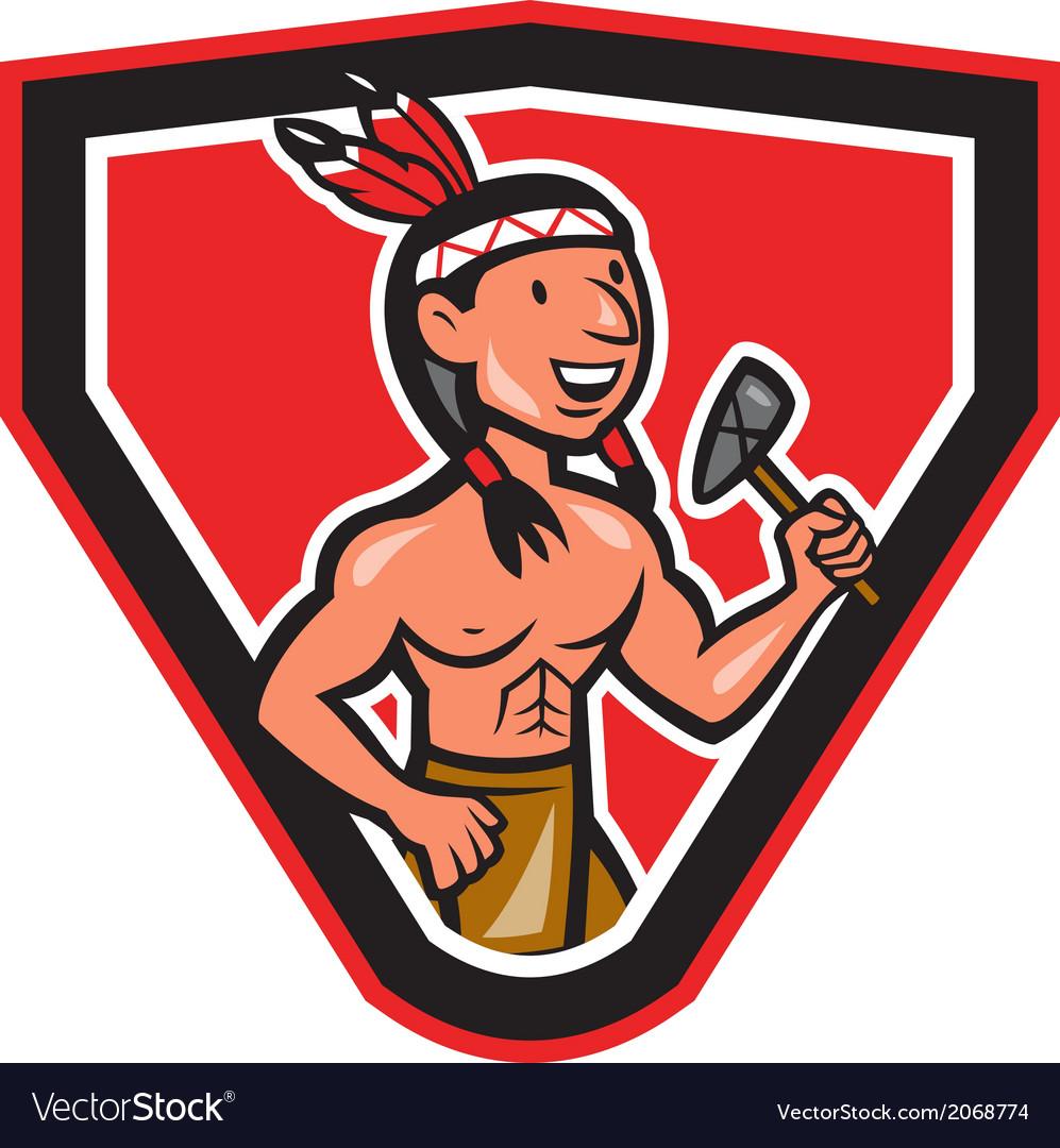 Native American Holding Tomahawk Cartoon vector image