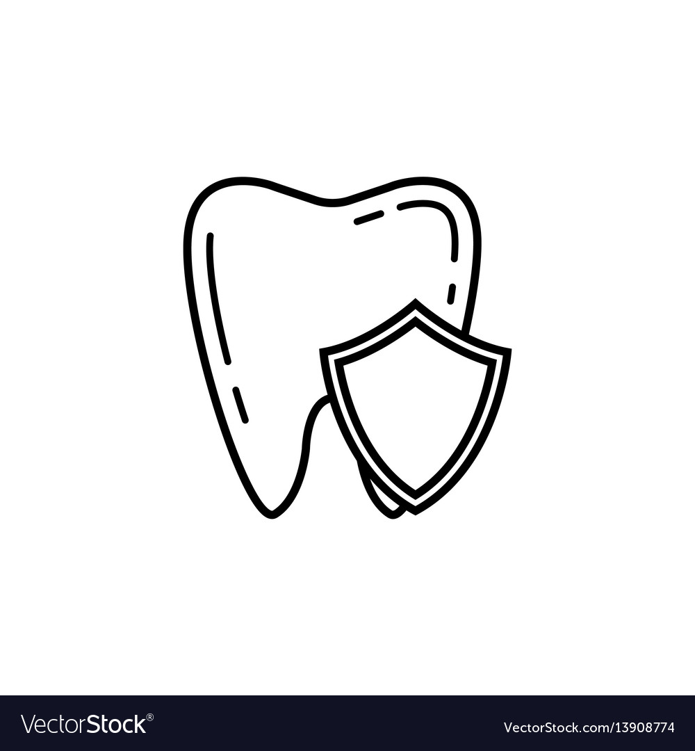 Tooth protection line icon vector image