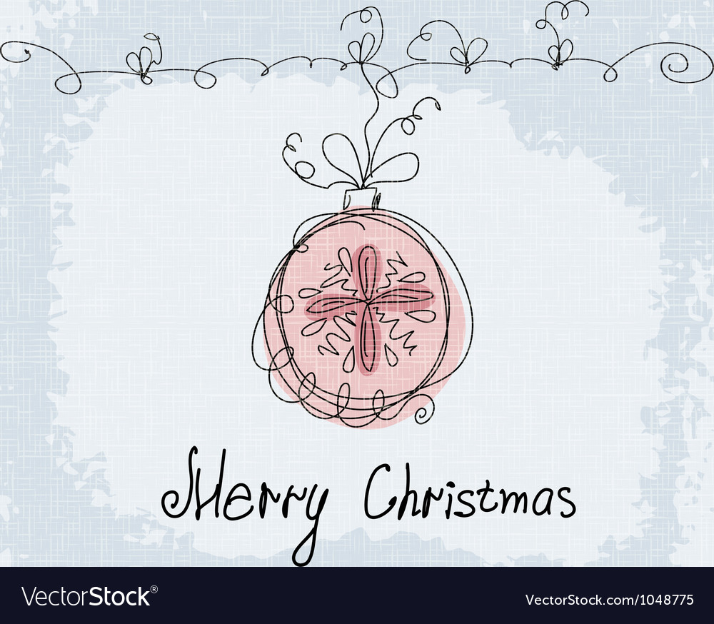 Christmas doodle card New Year postcard in Retro vector image