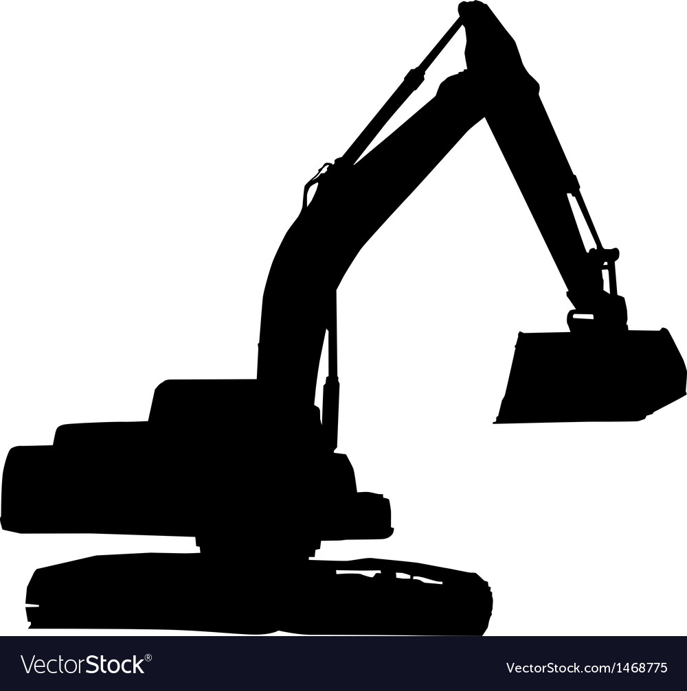 Mechanical digger excavator silhouette Royalty Free Vector