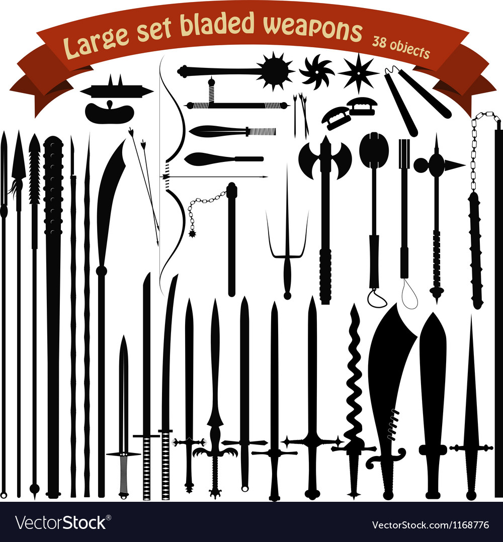 A large set bladed weapons vector image