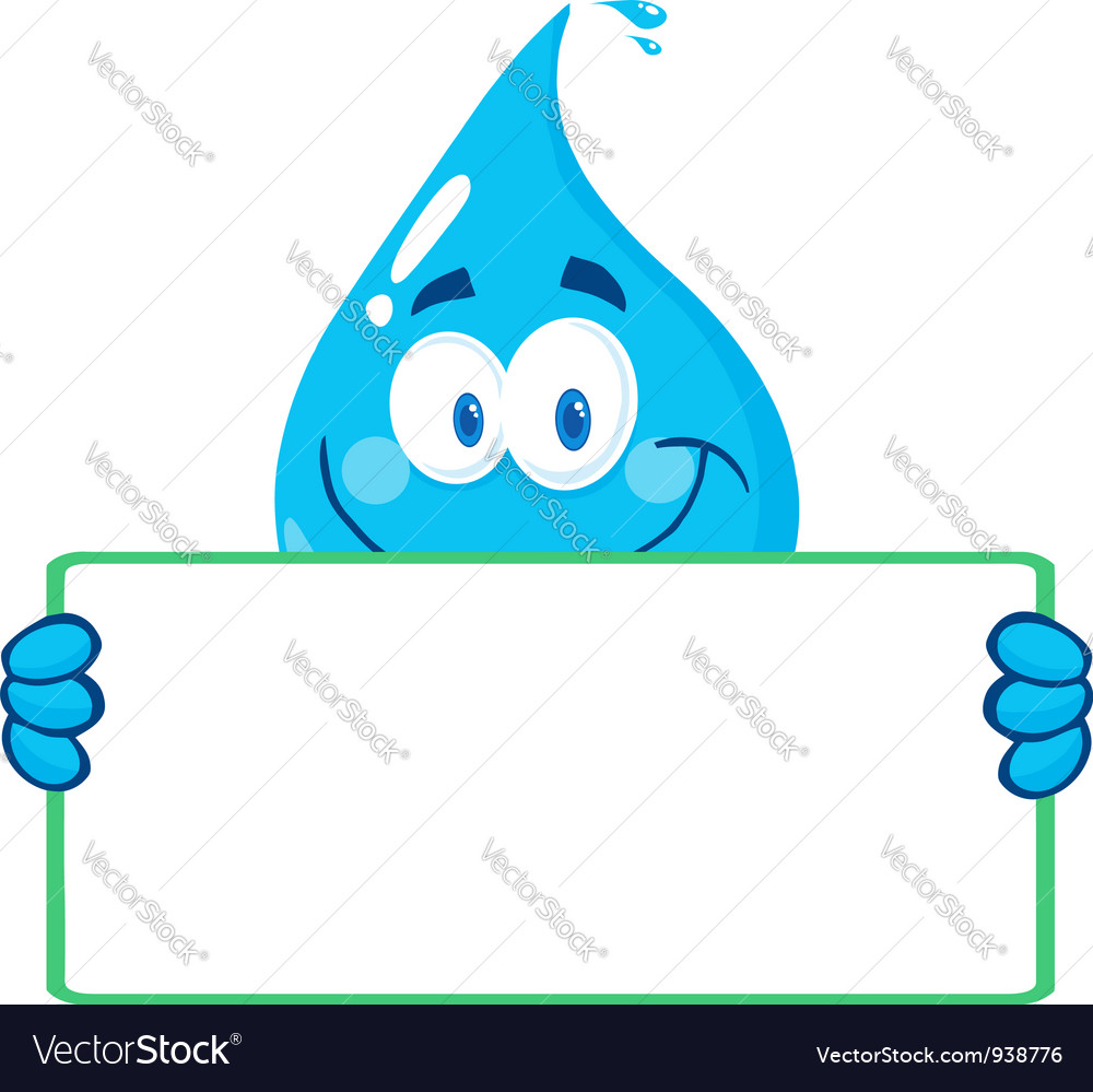 Water Drop Character Holding A Banner vector image