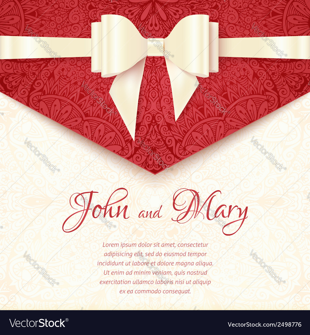 Elegant wedding card template vector image