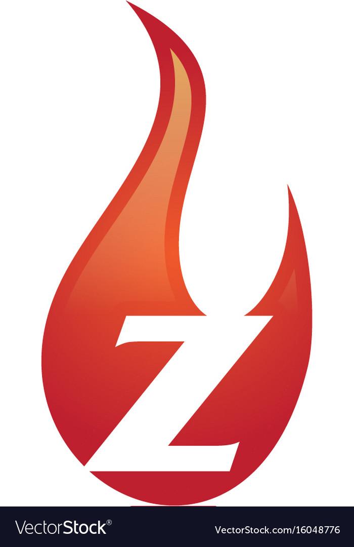 Z letter flame logo vector image