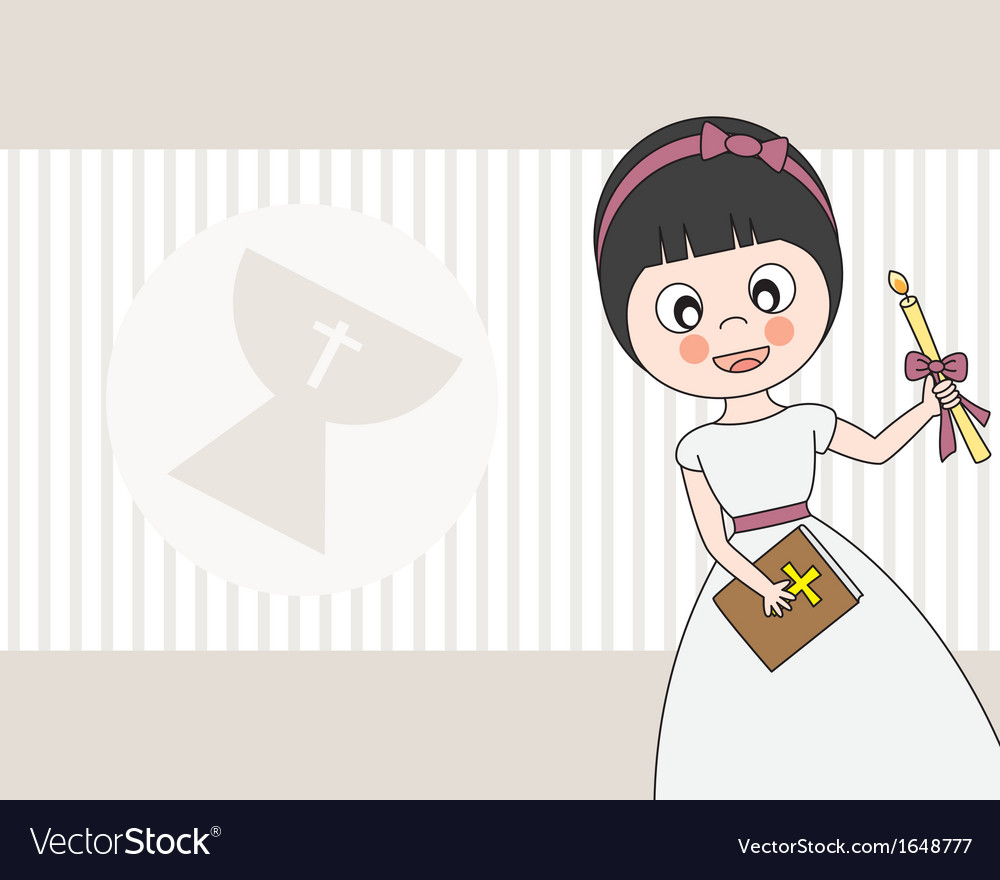 First Communion girl vector image