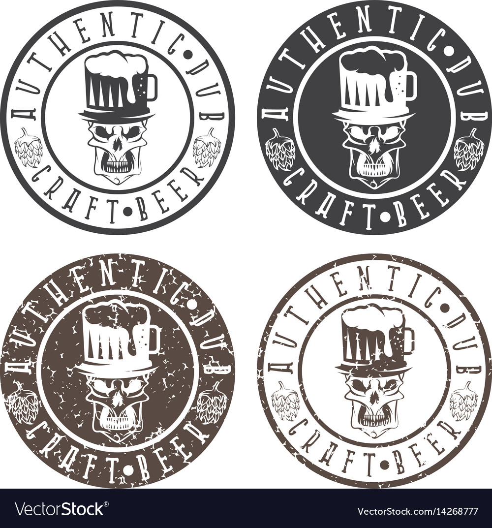 Authentic pub vintage labels set with skull hat vector image