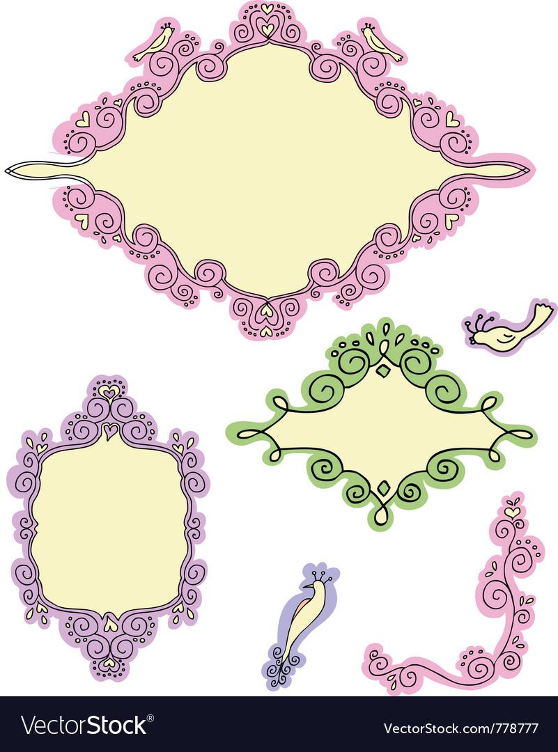 Doodle frames - first part vector image