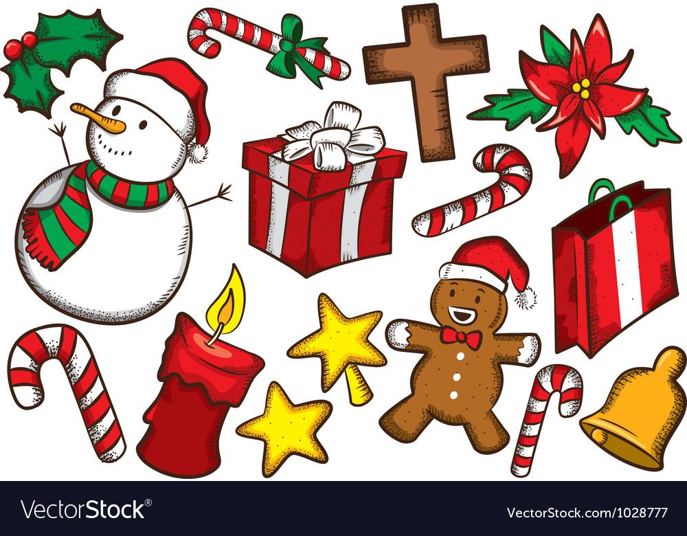 Set of colorful christmas stuff vector image