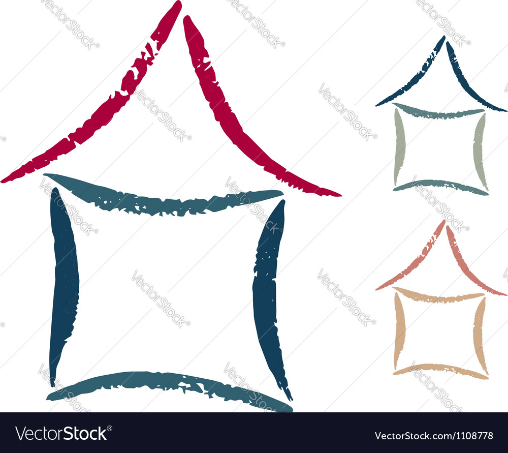 Hand drawn isolated house symbol vector image