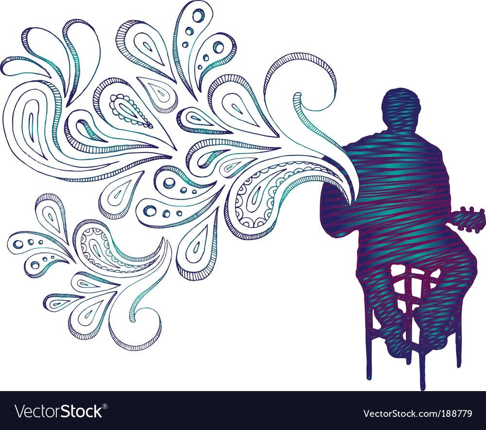 Guitarist doodle vector image