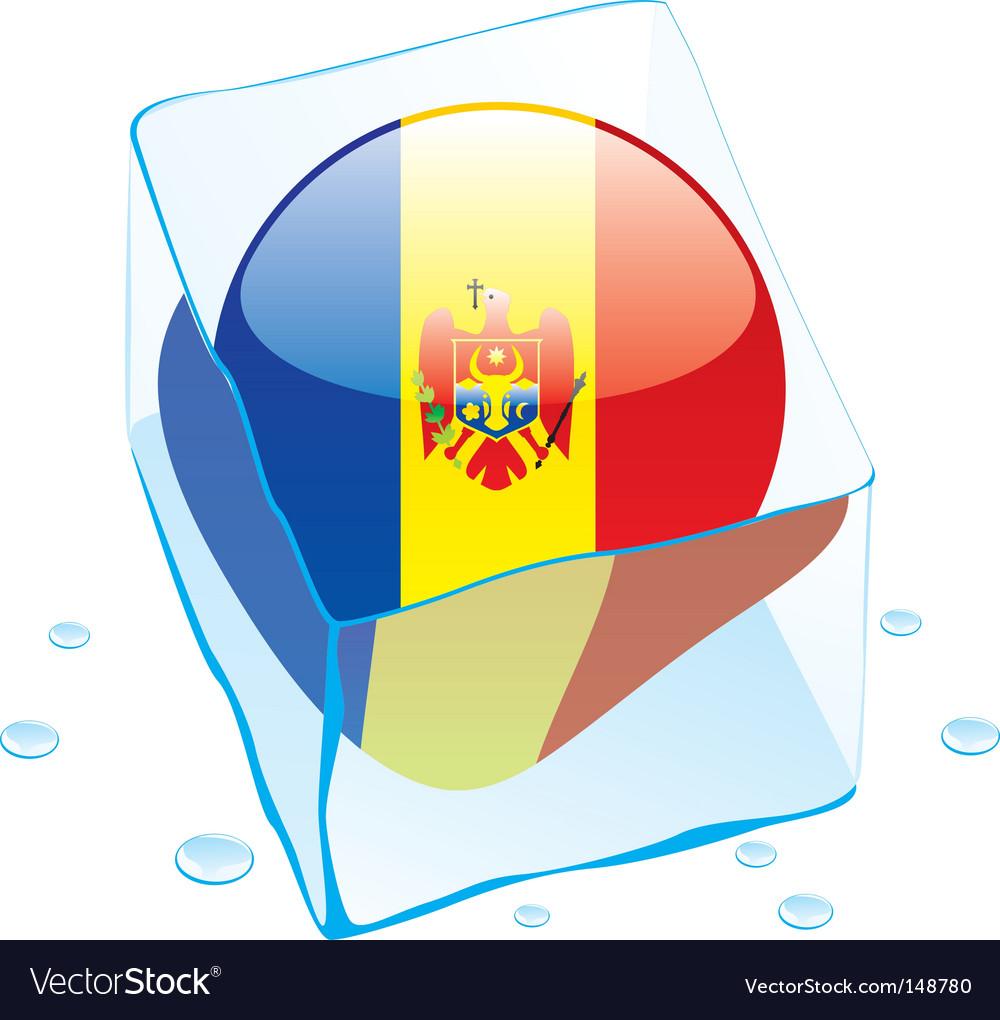 Frozen button flag of moldova vector image