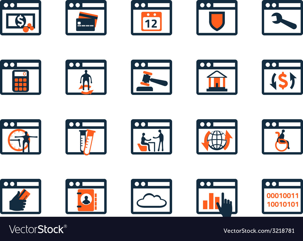 Business icon set Software web development finance vector image