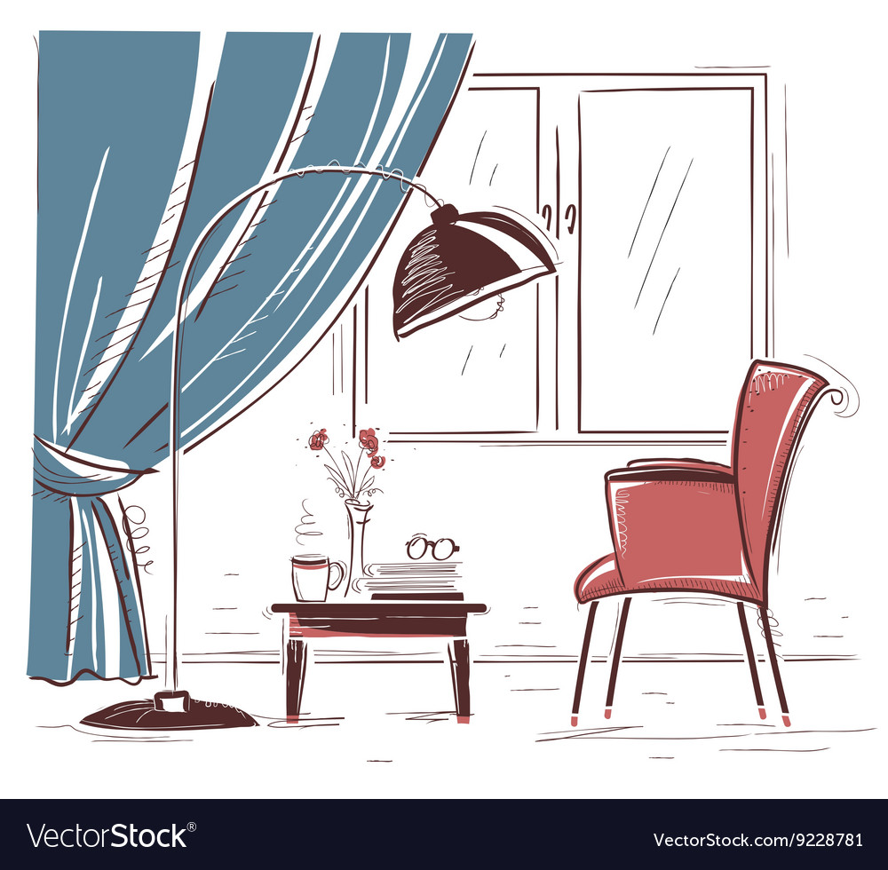 Interior hand draw of living room with armchair vector image