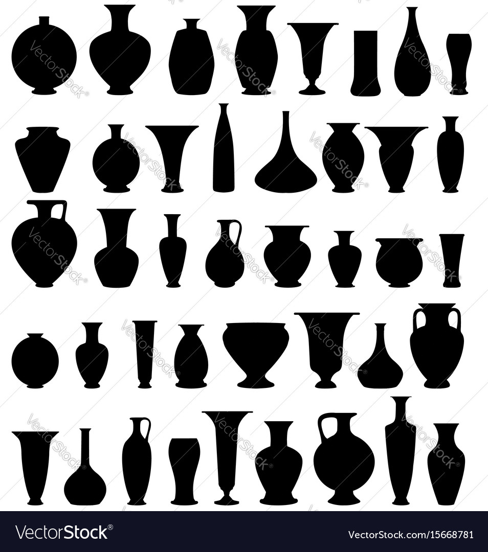 Vase set pot pottery vases flower home interior vector image