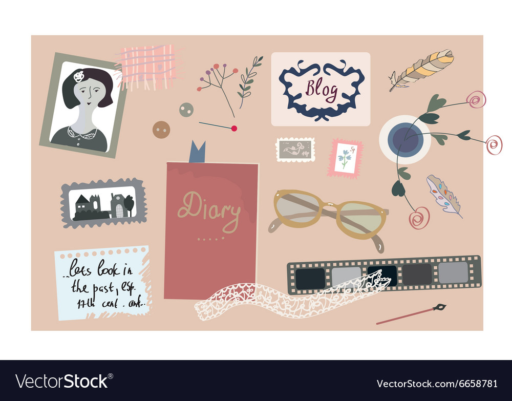 Vintage blog banner with nice elements for the vector image