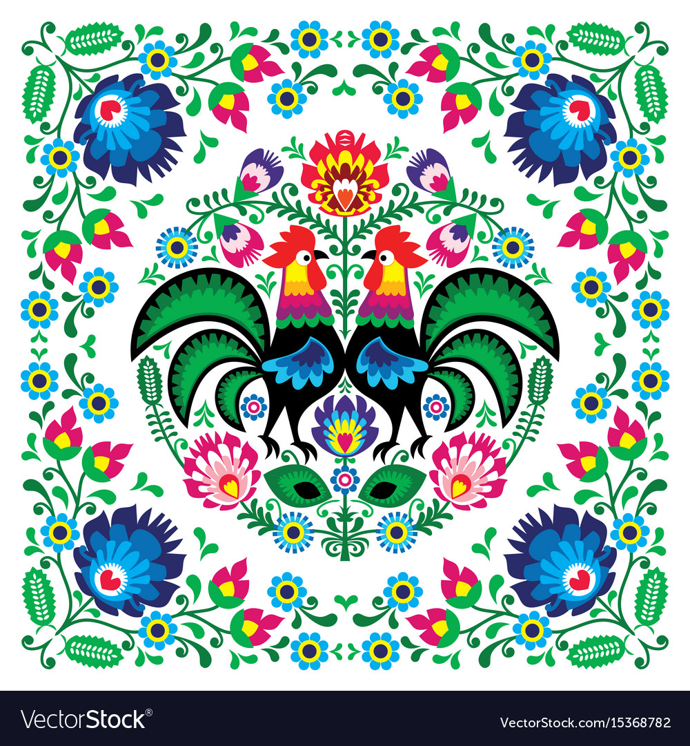 Polish floral folk art square pattern vector image